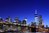 Brooklyn Bridge and Manhattan Skyline at Night, New York City Prints by  Zigi