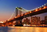 New York City Manhattan Bridge over Hudson River with Skyline after Sunset Night View Illuminated W Poster by Songquan Deng