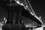 New York City Skyline and Manhattan Bridge at Night Prints by  Zigi
