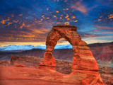 Arches National Park Delicate Arch Sunset in Moab Utah USA Photo Mount Photographic Print by  holbox