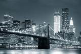 New York City Brooklyn Bridge Black and White with Downtown Skyline over East River. Photographic Print by Songquan Deng