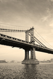 Manhattan Bridge Black and White over East River Viewed from New York City Lower Manhattan Waterfro Prints by Songquan Deng