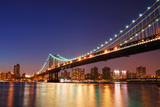 New York City Manhattan Bridge over Hudson River with Skyline after Sunset Night View Illuminated W Prints by Songquan Deng