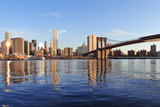Brooklyn Bridge with Lower Manhattan Skyline Panorama in the Morning with Cloud and River Reflectio Print by Songquan Deng