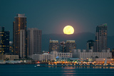 San Diego Downtown Skyline and Full Moon over Water at Night Photo by Songquan Deng