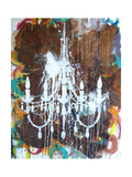 White Chandelier Print by Kent Youngstrom