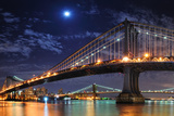 Brooklyn Bridge and Manhattan Bridge over East River at Night with Moon in New York City Manhattan Posters by Songquan Deng