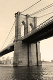Brooklyn Bridge Black and White over East River Viewed from New York City Lower Manhattan Waterfron Posters by Songquan Deng