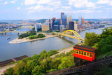 Incline Operating in Front of the Downtown Skyline of Pittsburgh, Pennsylvania, Usa. Posters by  SeanPavonePhoto