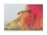 Red Dragon with St. George and Virgin on Horse Giclee Print by Wayne Anderson