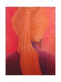 Orange Turban on Red Giclee Print by Lincoln Seligman