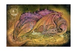 Sleeping Dragon on Gold Hoard Giclee Print by Wayne Anderson