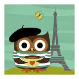 Owl in Paris Posters van Nancy Lee