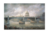 St. Paul's Cathedral from the Southwark Bank, Doggett Coat and Badge Race in Progress Giclee Print by Richard Willis