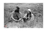 Woodstock- Sitting in the Field (Black and White) Foto von  Epic Rights