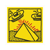 Untitled, 1984 (pyramid with UFOs) Giclée-tryk af Keith Haring