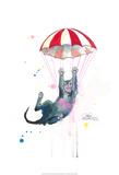 Parachute Cat Posters van Lora Zombie