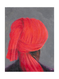 Red Turban on Grey, 2014 Giclee Print by Lincoln Seligman