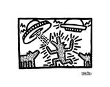 Keith Haring - Untitled, 1982 (dogs with UFOs) Reprodukce