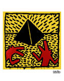 Untitled, 1982 (red dogs with pyramid) Prints by Keith Haring