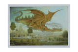 Flying Dragon over Landscape Giclee Print by Wayne Anderson