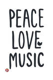 Woodstock- Peace Love Music Lámina por Epic Rights