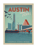 Congress Avenue Bridge, Austin, Texas Giclee Print by  Anderson Design Group