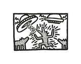 Untitled, 1982 (dogs with UFOs) Giclee Print by Keith Haring
