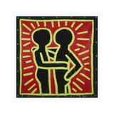 Untitled, 1982 (couple in black, red, and green) Giclée-tryk af Keith Haring