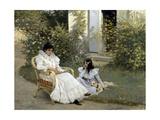 Mère et fille dans un jardin breton Giclee Print by Edouard-Bernard Debat-Ponsan