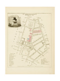 Plan de Paris par arrondissements en 1834 : IIIème arrondissement Quartier du Mail Giclee Print by Aristide-Michel Perrot