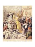 La Mi-Carême à Montmartre - cortège de la vache enragée Giclee Print by F. Méaulle