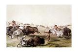 Chasse au bison chez les Indiens d'Amérique du Nord Giclee Print by Mc Gahey d'après G. Catlin