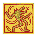 Untitled, 1982 (red dog on yellow) Giclée-tryk af Keith Haring