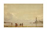 Pêcheurs de coquillages à Antibes Giclee Print by Félix Ziem