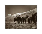 Be it Moon or Sun a Cowboy's Work's Never Done Giclee Print by Barry Hart