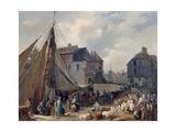 Port de Honfleur, l'embarquement des bestiaux Giclee Print by Auguste Anne Xavier Leprince