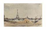 Vue du quai d'Auteuil et du pont de Grenelle Giclee Print by Eugène Béjot