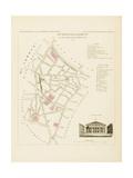 Plan de Paris, arrondissements en 1834: XIème arrondissement Quartier de l'Ecole de médecine Giclee Print by Aristide-Michel Perrot