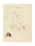Plan de Paris, arrondissements en 1834: IVème arrondissement Quartier de la Banque de France Giclee Print by Aristide-Michel Perrot