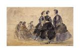 Six personnages sur une plage Giclee Print by Eugène Boudin