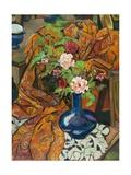 Nature morte à la draperie et au bouquet Giclée-Druck von Suzanne Valadon
