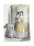 Le Moniteur de la mode (planche 13): sans titre (toilette pour dame et robe de fillette) Giclee Print by Jules David