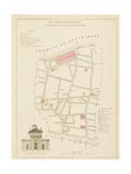 Plan de Paris, arrondissements en 1834: IIème arrondissement Quartier du Faubourg Montmartre Giclee Print by Aristide-Michel Perrot