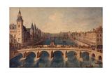 Le Pont au Change, le palais (conciergerie) et la Seine vers l'aval. Paris (Ier arr.), 1801-1850 Giclee Print by Angelo Garbizza