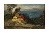 La femme à l'ombrelle, baie de Douarnenez, 1872 Giclee Print by Jules Breton