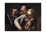 Trio d'amateurs Gicléedruk van Honoré Daumier