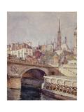 Le pont Saint-Michel. Paris (VIème arr.), 1801-1900 Giclee Print by François Max Bugnicourt