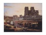 Le pont Saint-Charles, l'Hôtel-Dieu, l'Archevêché et Notre-Dame, vus du quai de la Tournelle Giclee Print