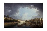 L'Archevêché, le pont de la Tournelle et le quai Saint-Bernard, vus de l'Hôtel-Dieu Giclee Print by Pierre-Antoine Demachy